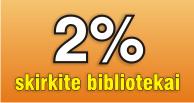 2% skirkite bibliotekai